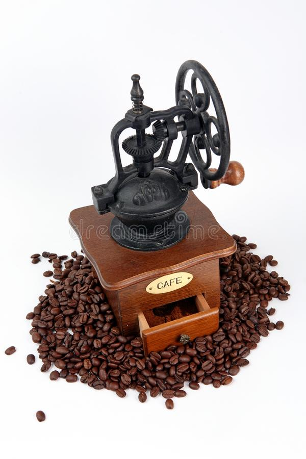 Coffee-grinder with coffee bins stock images