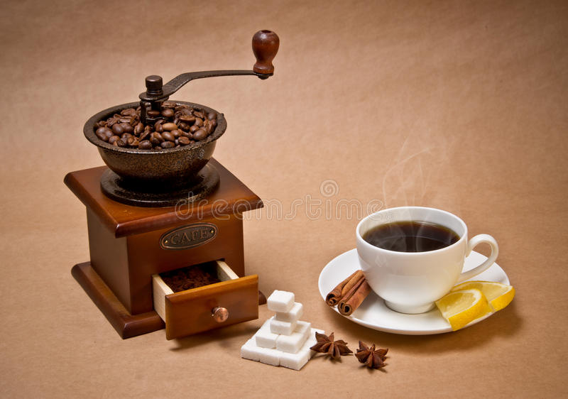 Download Coffee-grinder And Cup Of Hot Coffee Stock Images - Image: 18538354