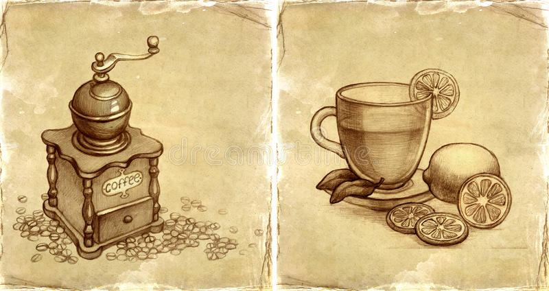 Coffee grinder and glass cup of tea with lemon