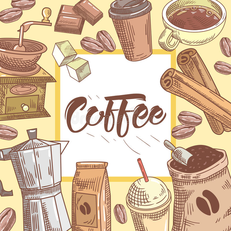 Coffee Hand Drawn Background with Coffee Cup, Cinnamon and Chocolate. Food and Drink vector illustration