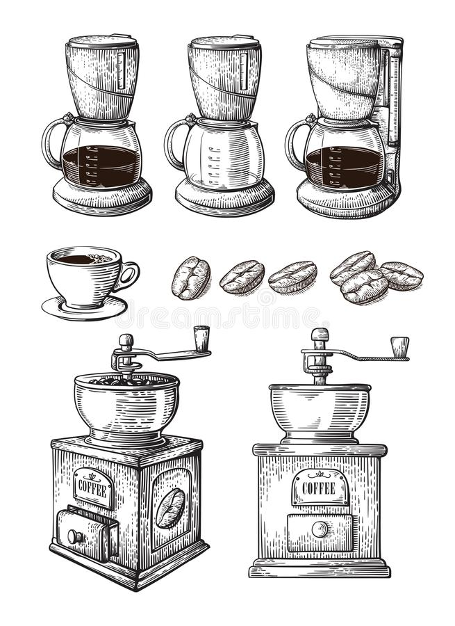 Coffee Hand Drawn Collection Vector Sketch Set With Cups Beans Maker Latte grinder machine stock illustration