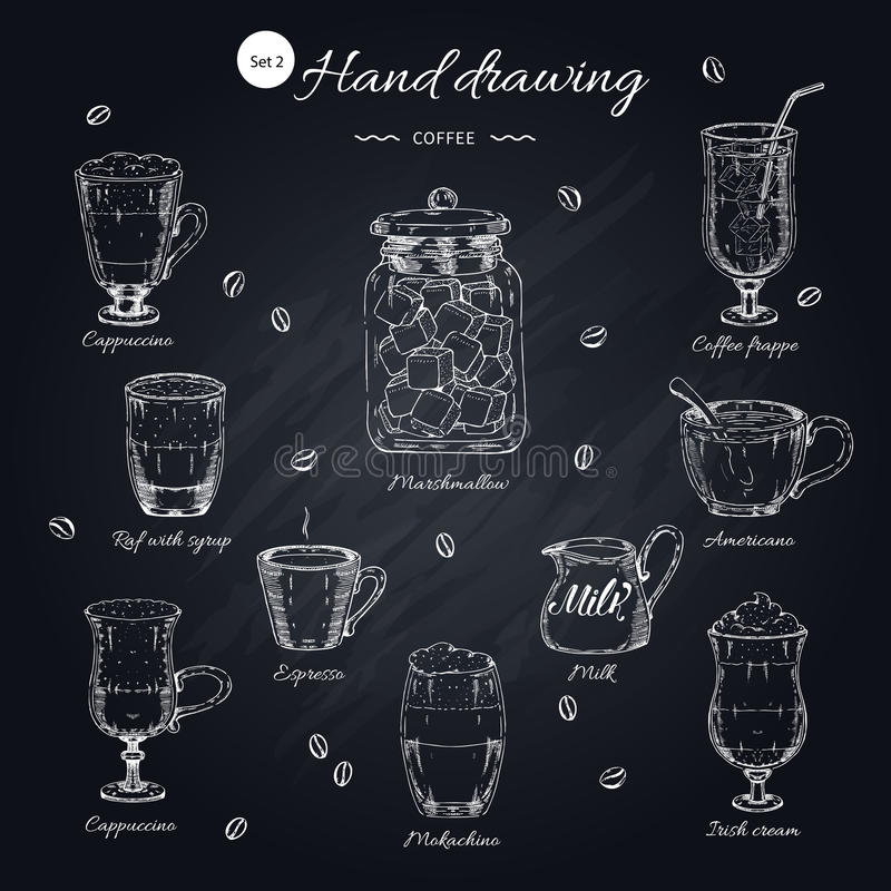 Coffee Hand Drawn Elements Set. With beverages and drinking utensils on black texture chalkboard background vector illustration stock illustration