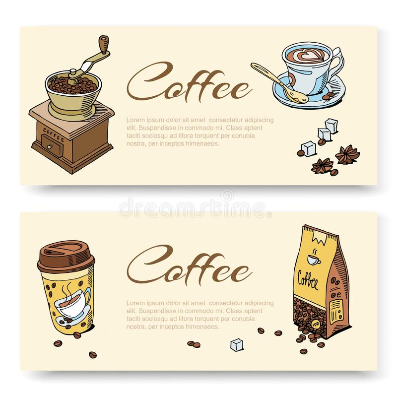 Coffee hand grinder and beans, cup of coffee. Set of banner templates for cafe bar, coffeeshop, restaurant, e-commerce. Vector illustration concepts for royalty free illustration