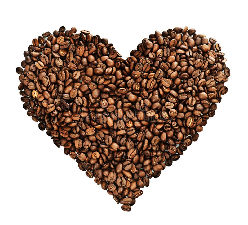 Coffee Heart. Beautiful roasted Coffee beans heart Isolated on a white background stock image