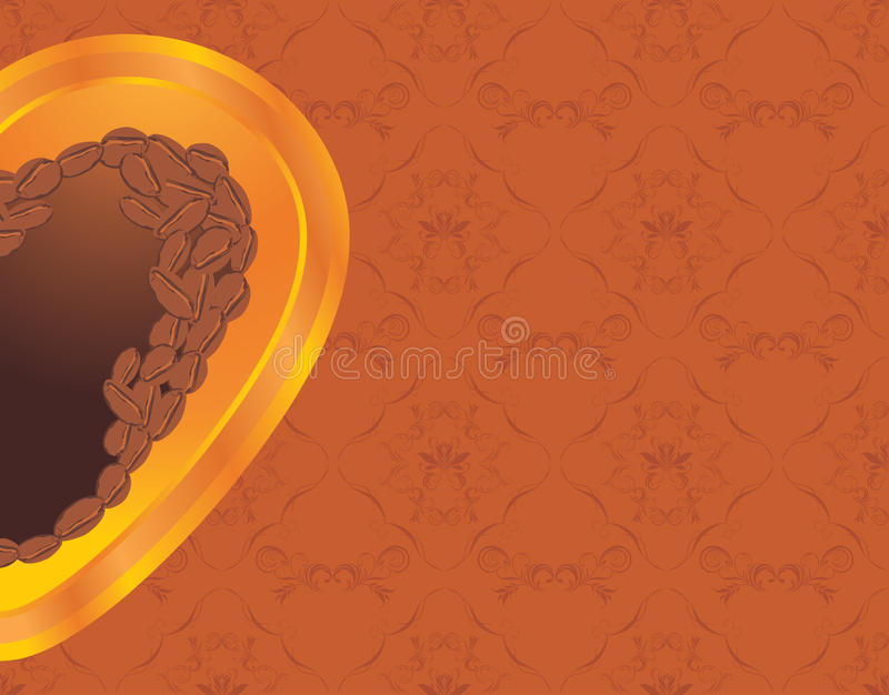 Download Coffee Heart On The Ornamental Background Stock Photography - Image: 28660292