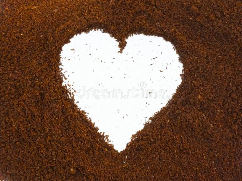 Coffee heart shape, made from ground coffee. stock images