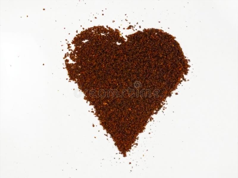 Coffee heart shape, made from ground coffee. stock photo