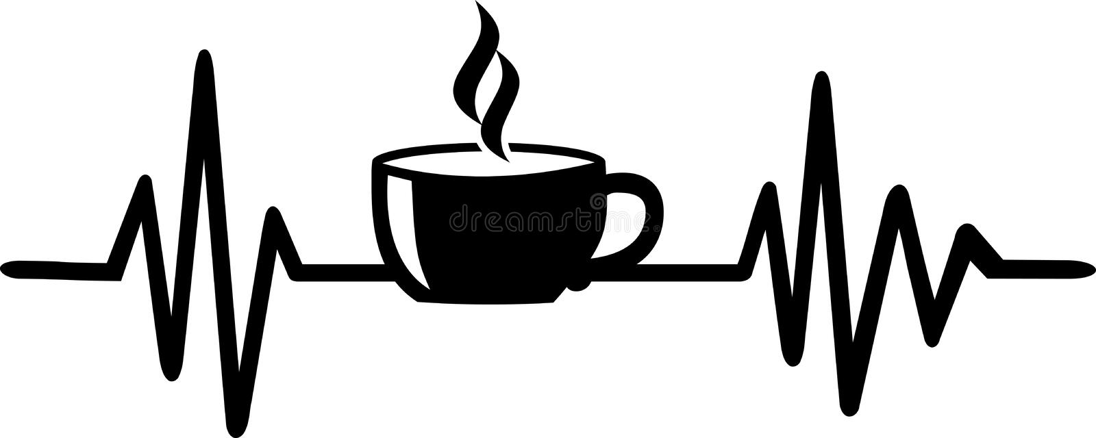Coffee heartbeat line with coffee cup. Heartbeat pulse line with coffee cup black stock illustration