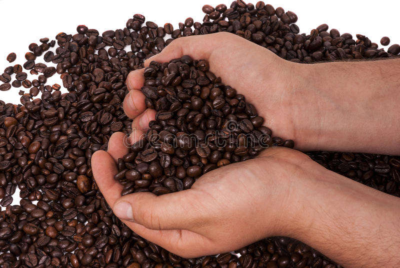 Coffee held in hands royalty free stock photos