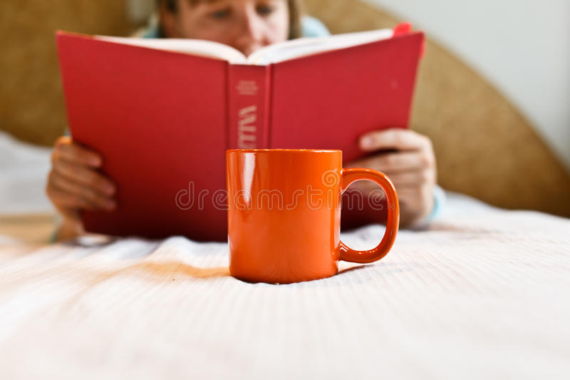 Coffee home reading stock image