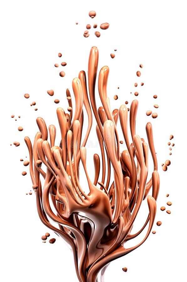 Coffee or hot dark chocolate dynamic splashing, liquid splash, 3d isolated on white background. Coffee or hot dark chocolate dynamic splashing, liquid splash, 3d royalty free illustration