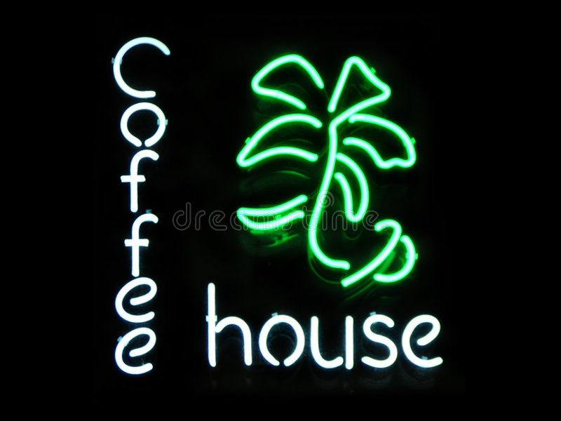 Coffee House. Neon sign stock images