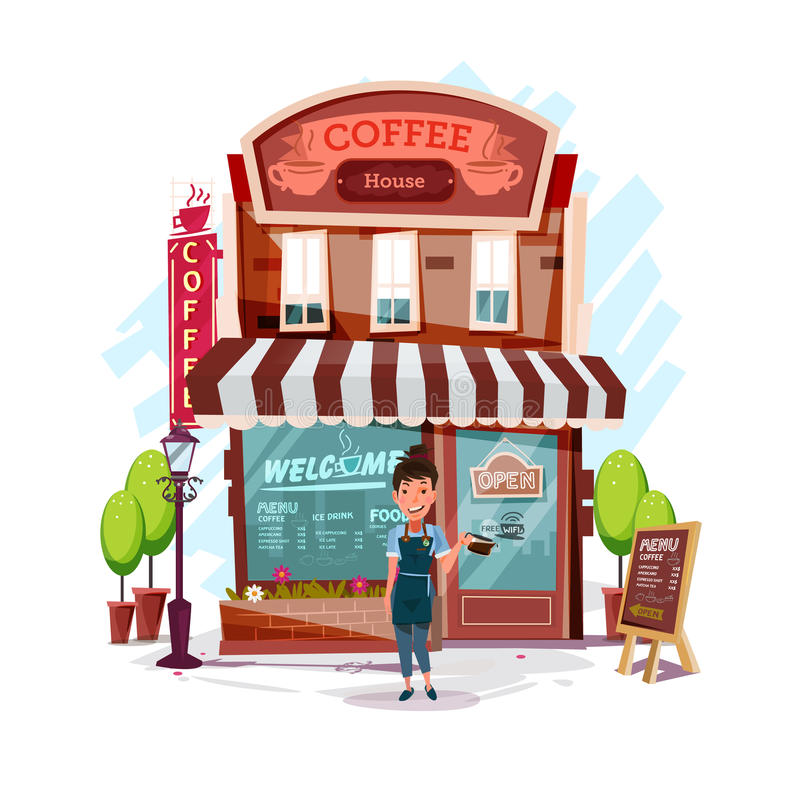 Coffee house with barista girl. Facade of a coffee shop store or stock illustration