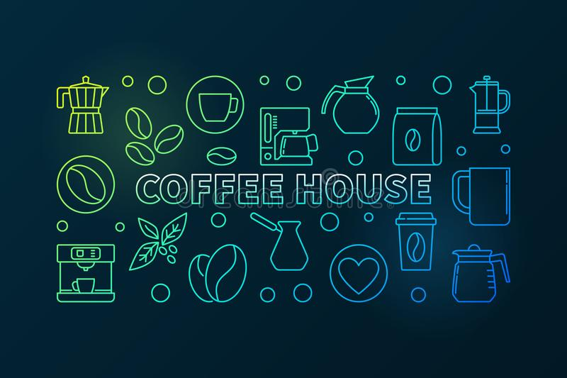 Coffee house colored illustration. Vector cafe concept banner. Coffee house horizontal colored illustration. Vector cafe concept banner made with line coffee vector illustration