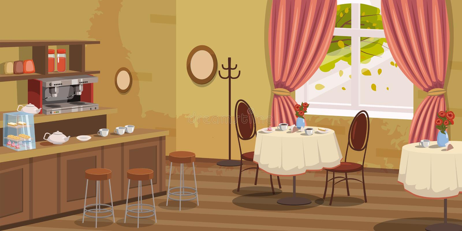 Coffee house, interior, rack, chairs, coffee machine, tables, vector, illustration, cartoon style, isolated. Coffee house, interior, rack, chairs coffee machine royalty free illustration