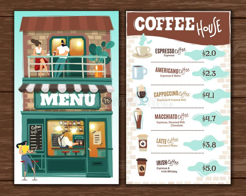 Coffee house menu. All main illustration objects are isolated and easy to move. royalty free illustration
