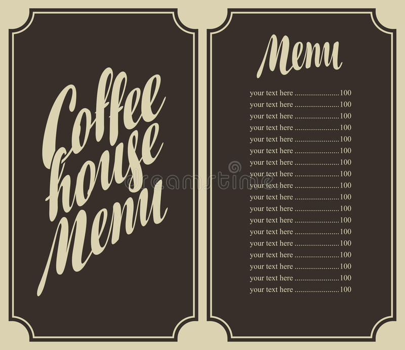 Coffee house menu with cup and price stock vector for Coffee price list template