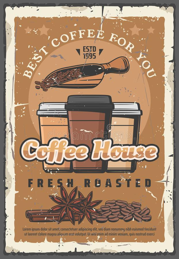 Coffee house retro poster, takeaway paper cups royalty free illustration