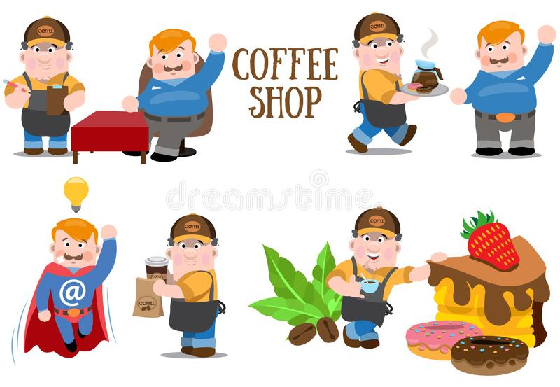 Coffee house. Service staff. Elements for design products with a coffee theme royalty free stock photography