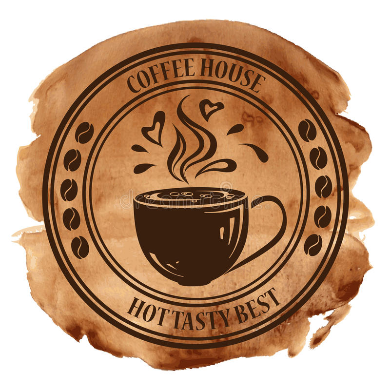 Coffee house stamp on a watercolor background stock illustration