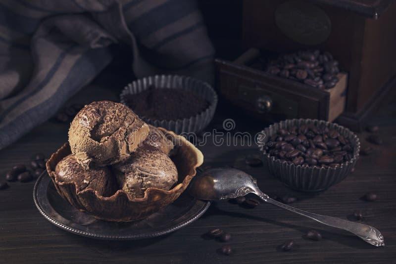 Coffee ice cream stock photography
