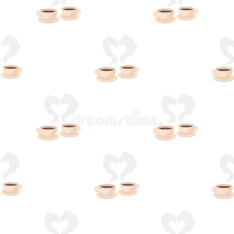 Coffee icon in cartoon style isolated on white background. Romantic pattern stock vector illustration. stock illustration