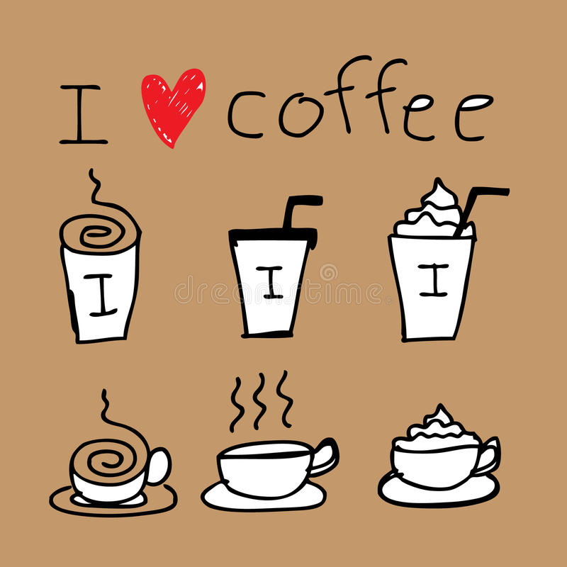 Coffee Icon Drawing. Illustration of icons about coffee in hand draw style royalty free illustration