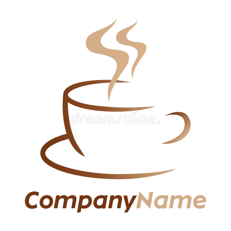 Coffee icon and logo design. Isolated vector company logo with hot coffee or tea brown cup element with aroma steam and lettering Company Name. On white