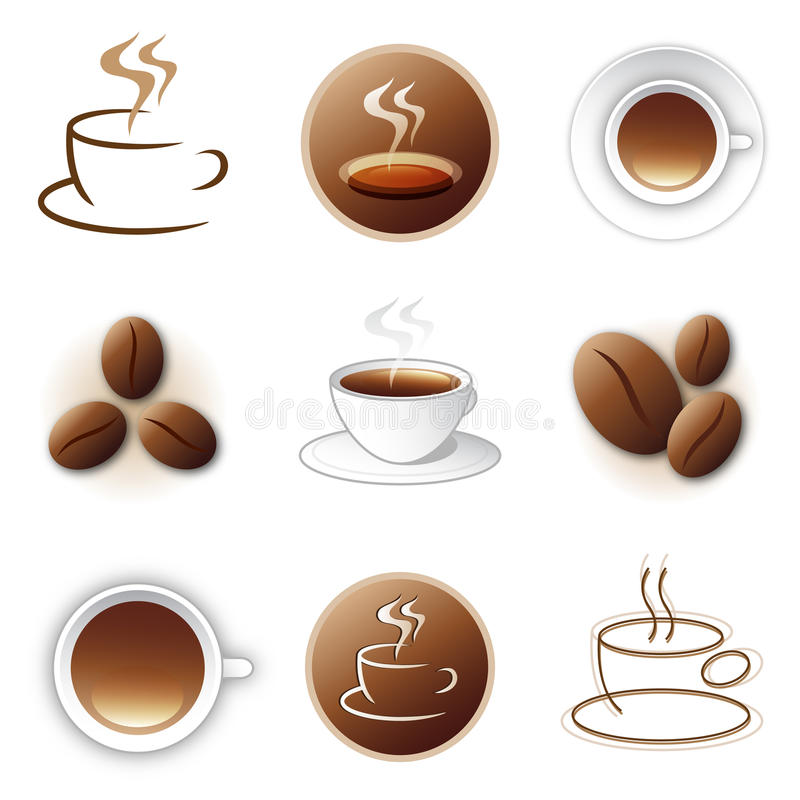 Coffee icon and logo design collection. Collection of 9 isolated coffee company logos. With icon of hot coffee cup element with aroma steam or coffee beans. On stock illustration