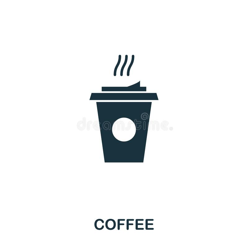 Coffee icon. Mobile apps, printing and more usage. Simple element sing. Monochrome Coffee icon illustration. Coffee icon. Mobile apps, printing and more usage royalty free illustration