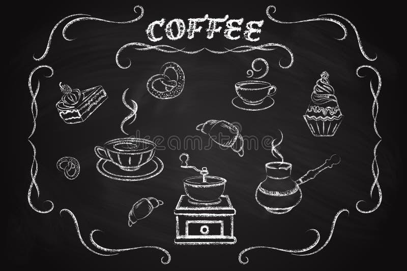 Coffee icon set. Drawn in chalk on a blackboard royalty free illustration