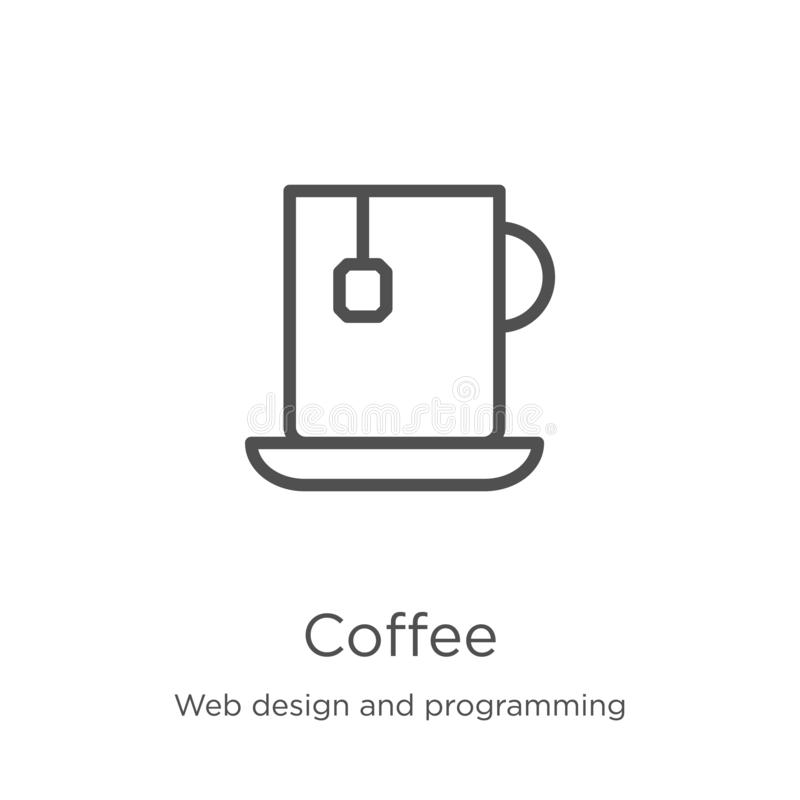 Coffee icon vector from web design and programming collection. Thin line coffee outline icon vector illustration. Outline, thin. Coffee icon. Element of web vector illustration