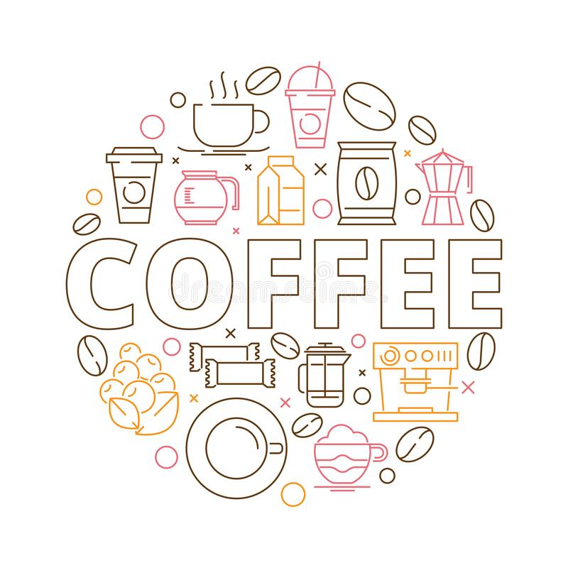 Coffee icons background. Circle shape from coffee grains espresso mill hot drink cups cupcakes vector thin line design. Illustratino of coffee drink, cup of royalty free illustration