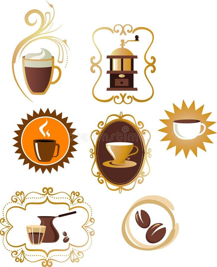 Coffee icons / logo set - 4 royalty free stock photo