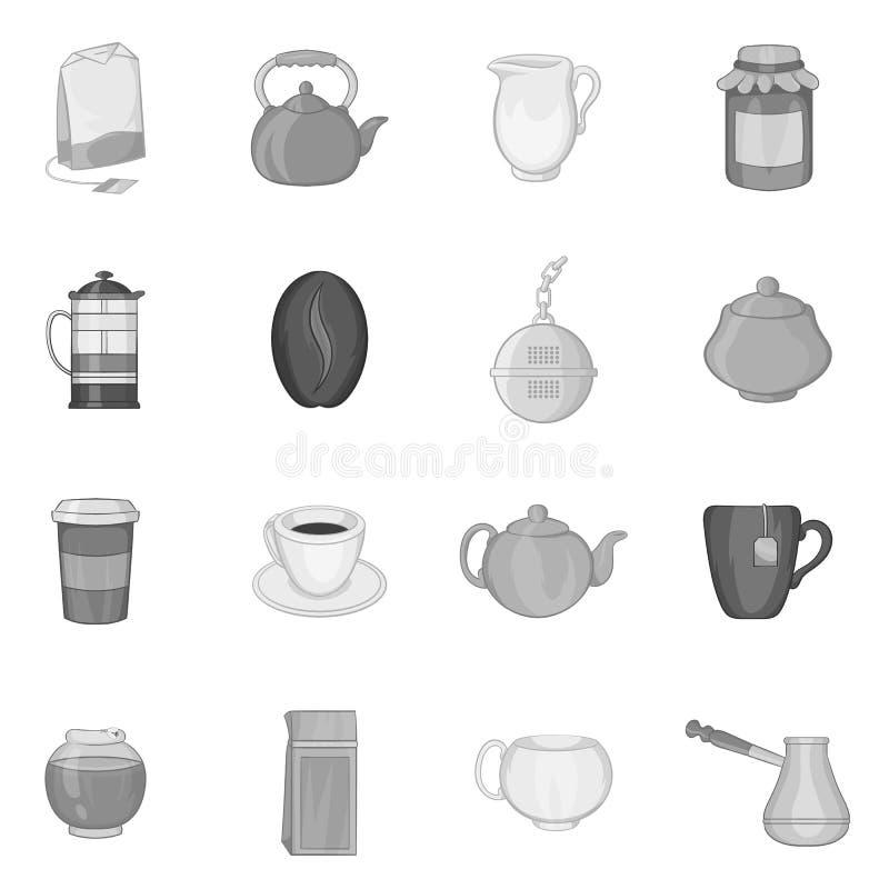 Coffee icons set, black monochrome style. Coffee icons set in black monochrome style. Tea set collection vector illustration vector illustration