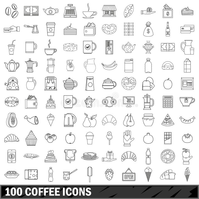 100 coffee icons set, outline style vector illustration