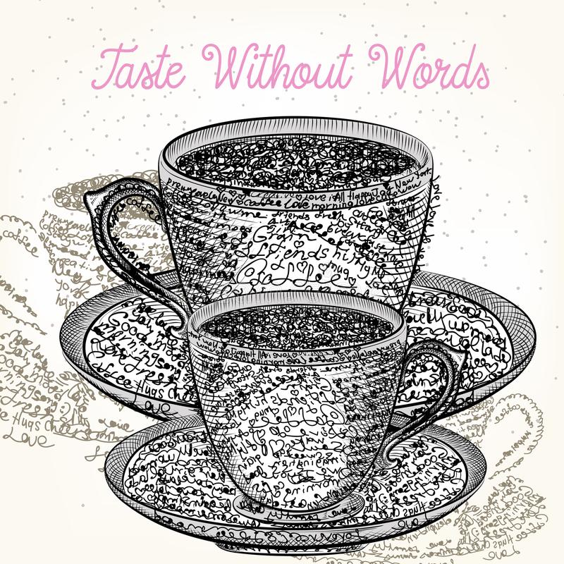Coffee illustration with cup from positive words. Coffee mood de. Sign vector, taste without words vector illustration