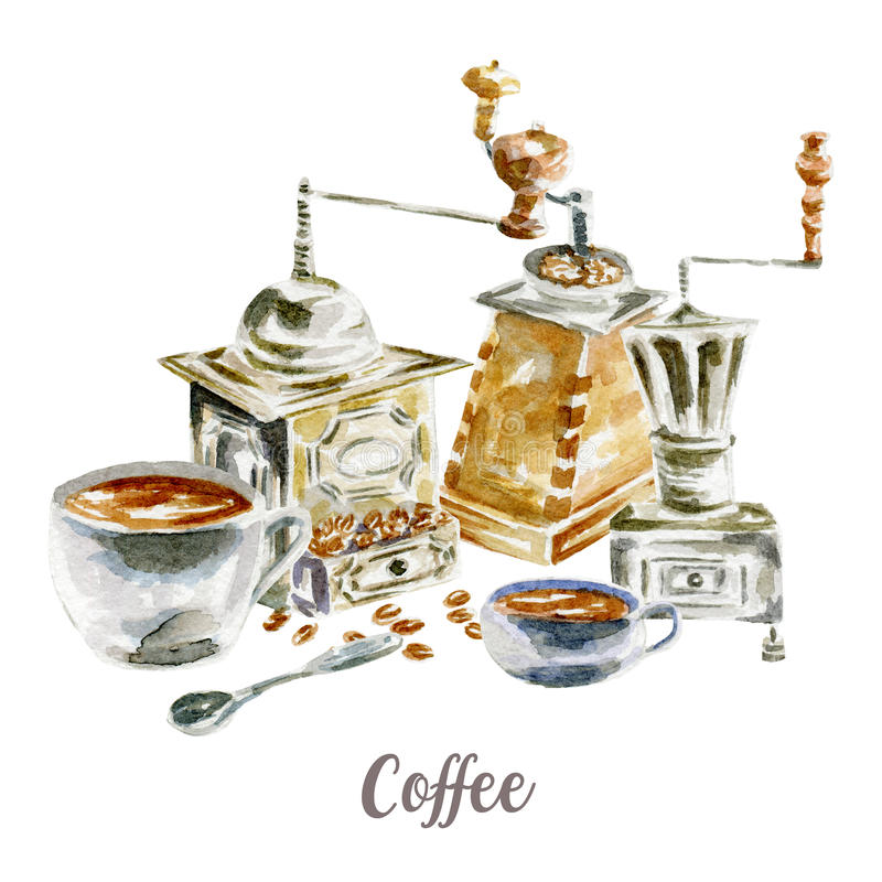 Free Coffee Illustration. Hand Drawn Watercolor On White Background. Stock Photography - 98280662