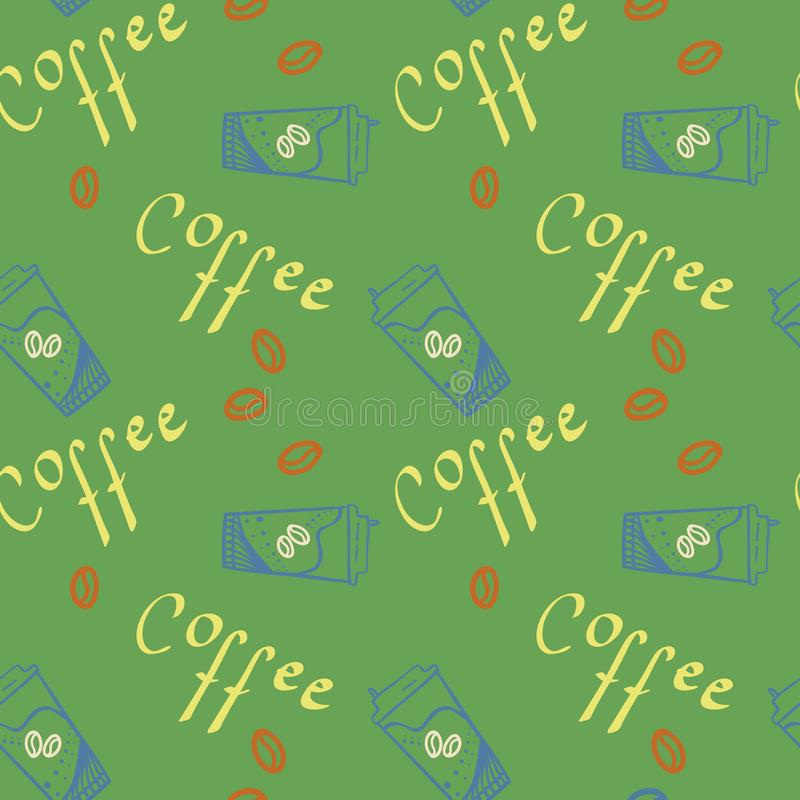 Coffee text and coffee cup take away with beans seamless pattern for design, wrapping paper or decoration. vector illustration vector illustration