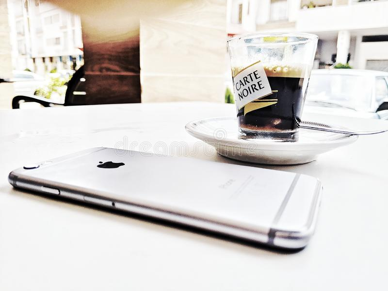Coffee and iPhone 6. Iphones, phone6, coffeeiphone, iphonecoffee royalty free stock photos