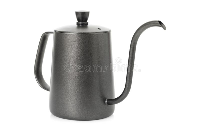 Coffee kettle isolated on white background. Tea kettle with handle.  Clipping path royalty free stock images