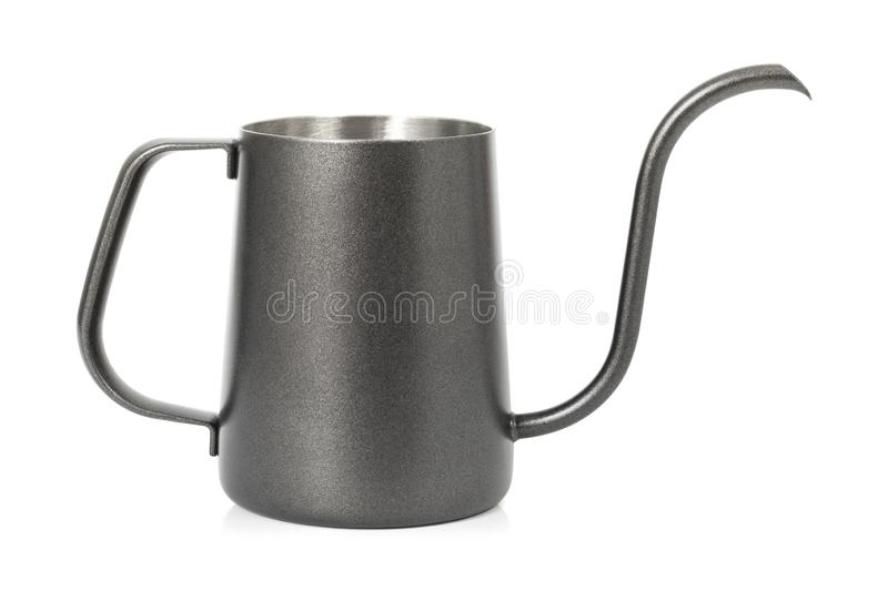 Coffee kettle isolated on white background. Tea kettle with handle.  Clipping path royalty free stock photo