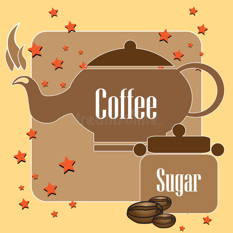 Download Coffee kettle and sugar stock vector. Image of decorative - 21827224
