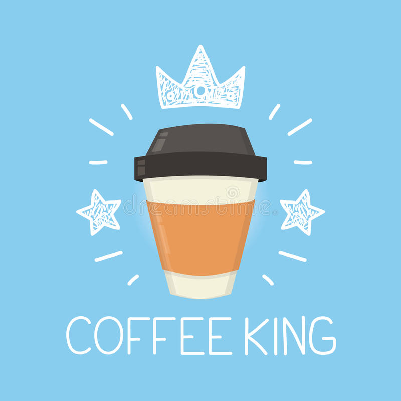 Coffee king vector cartoon flat and doodle illustration. Crown and stars icon royalty free illustration
