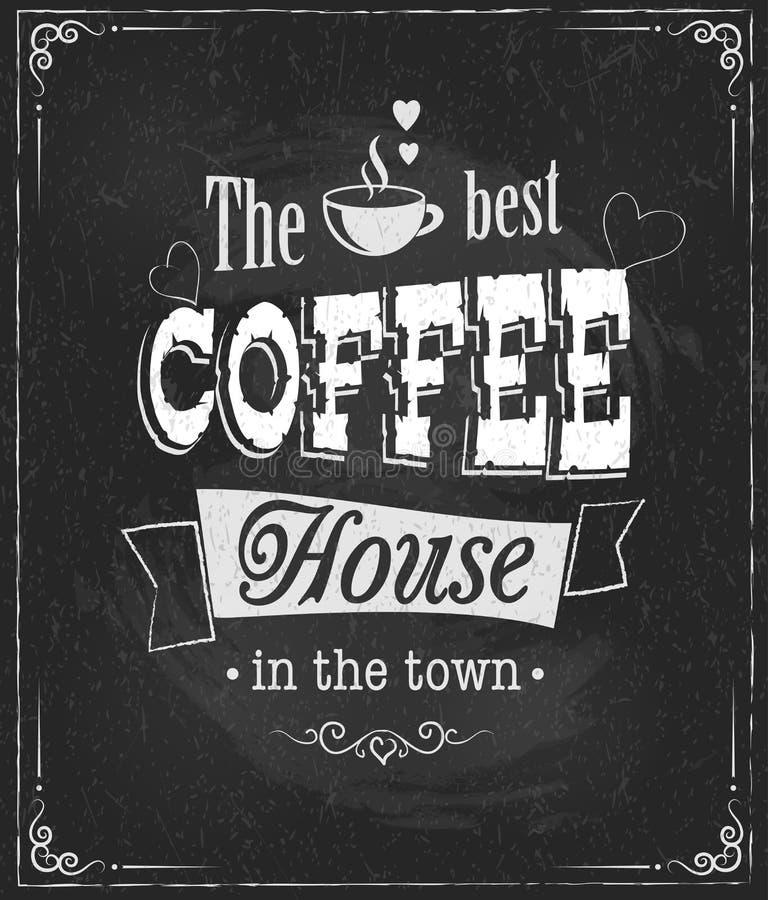 Coffee label on chalkboard stock illustration