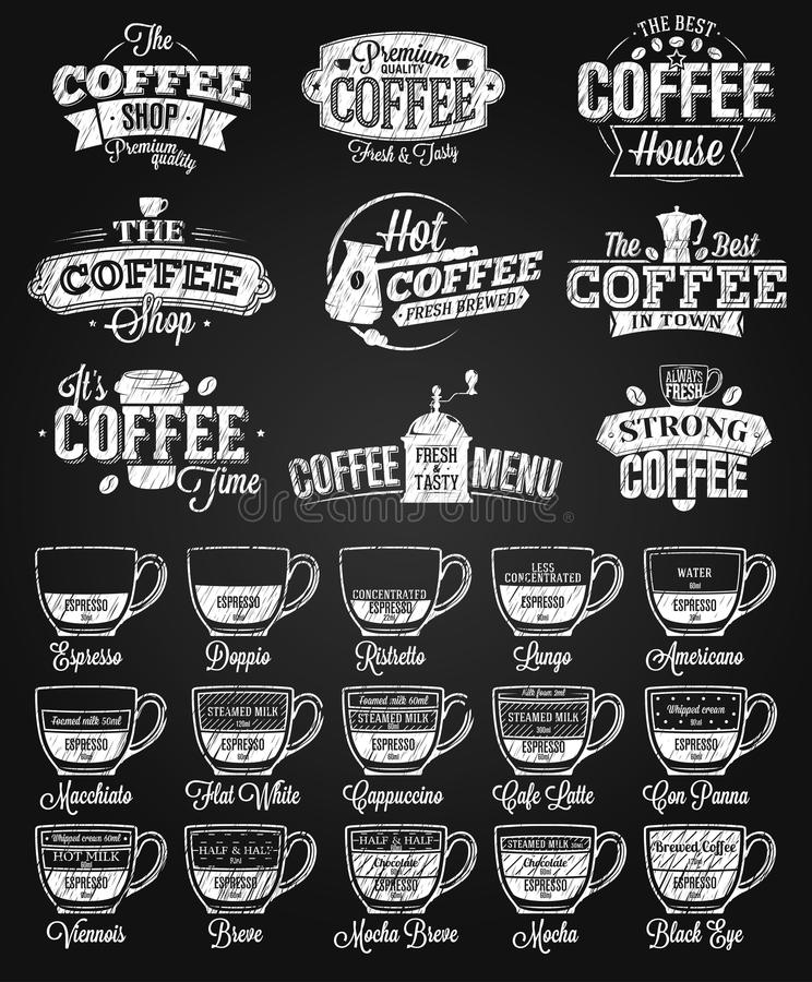 Free Coffee Label, Logo And Menu Chalk Drawing Stock Photos - 84726133
