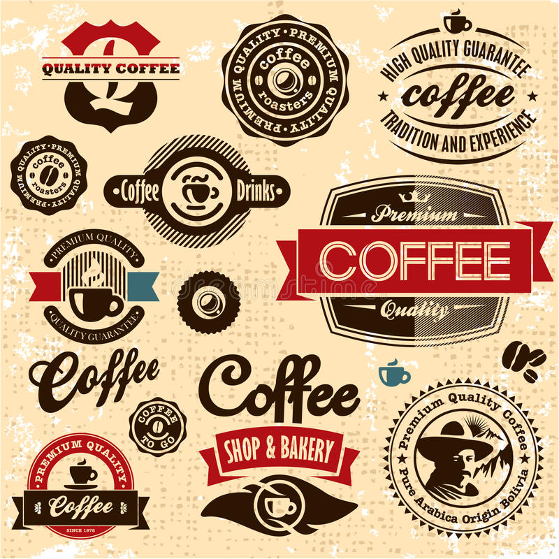 Coffee labels and badges. Retro style coffee vintage collection