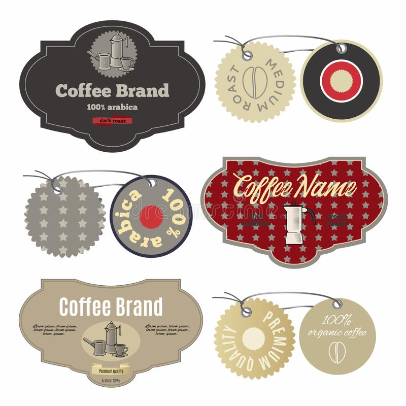 Coffee labels design template set in vintage style vector illustration