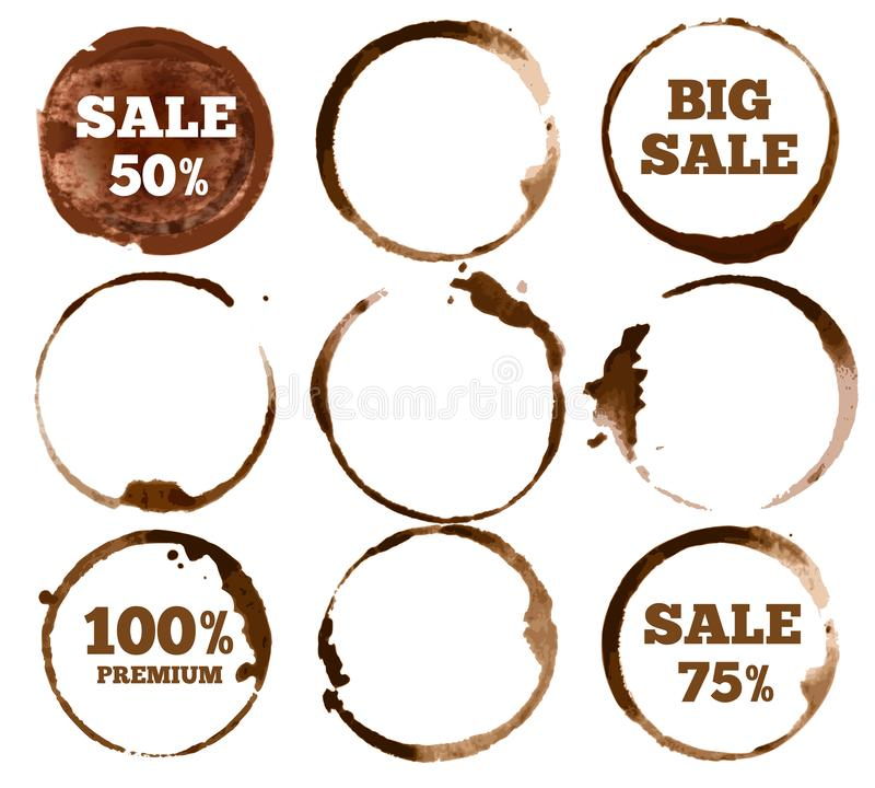 Coffee labels. Watercolor dirty ring stain logo. Vector illustration set stock illustration