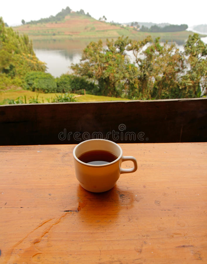 Coffee with a Lake View royalty free stock photography